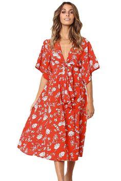 Boho Style Kimono Casual Floral Dresses