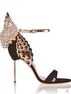 SOPHIA WEBSTER Evangeline Suede and Laser-Cut Metallic Leather Sandals