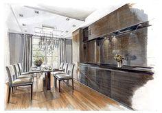 Drawing Interior, Interior Design Sketches, Interior Rendering, Interior Concept, Modern Architecture Design, Interior Architecture, Interior And Exterior, Learn Interior Design, Decoration