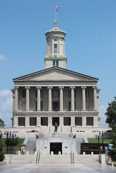 Tennessee State Capitol The Tennessee State Capitol was designed by William Strickland and completed in 1859. Strickland is apparently buried within the structure, and President James K. Polk is also buried on the grounds. The unique building has a prominent hilltop location and is listed as a National Historic Landmark.