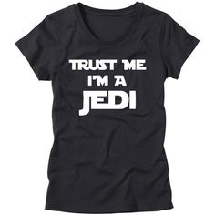 Womens Trust Me I'm a Jedi Shirt Girls Star Wars T-Shirt Funny Womens... ($25) ❤ liked on Polyvore featuring tops, t-shirts, black, women's clothing, checked shirt, black t shirt, checkered top, black checkered shirt and black shirt