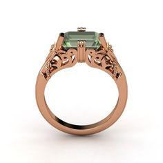 Emerald Green Amethyst Rose Gold Ring