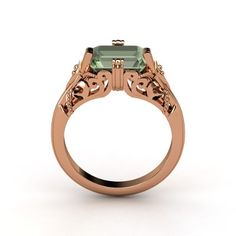 Emerald Green Amethyst Rose Gold Ring