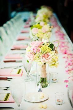 Flora Nova Design, Seattle wedding flowers, wedding reception decor, bridal bouquet, pink rose bouquet, head table decor bridal party table