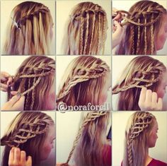 (This is my guess) How to: Do a waterfall braid (only half way) Then braid the 'waterfallen' pieces next (btw this part is a guess) Carry on from where you clipped the end of the waterfall then every 2 stitches add a braid. Finally, finish it off by braiding it down!