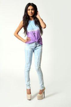 #boohoo Anya Bleached Effect Denim Skinny Jeans #denimdaze