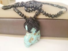 Fashion Jewelry Raw Turquoise Gemstone Necklace by LTLDizaynDIY