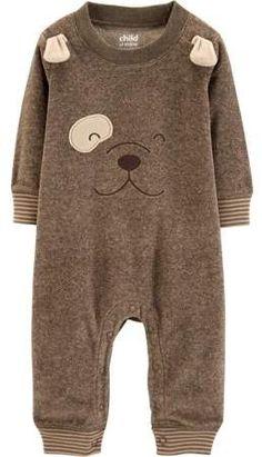 6449b4eaf8ee Carter s Child of Mine by Long Sleeve Bear Footless Fleece Romper (Baby  Boys)