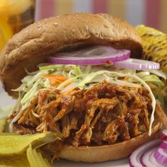 <3 Smoky Pulled Pork Bar-B-Que <3 with a homemade beer and vinegar sauce - easy prep - in the oven for several hours - Mmmmm......