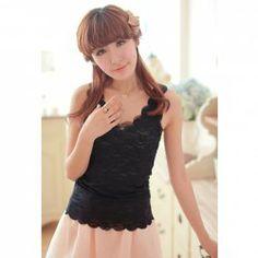 Sweet Wavy Hem Solid Color Women's Lace Vest Lace Vest, Sweet, Black, Color, Dresses, Fashion, Candy, Vestidos, Moda