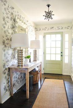 This post on YHL is full of great ideas! Beautiful entryway with the green front door, the kitchen is also gorgeous. Love the teal/red color combination in the guest room. House from Milk and Honey Home.