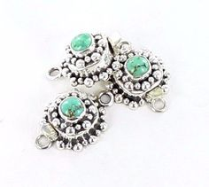Carico Laketurquoise Clasp Decorative Sterling 6mm Cushion