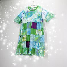 Green dress plus size dress patchwork dress festival dress boho dress green and white upcycled dress 1x 2x 3x dress AU size 18 20 22