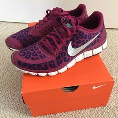 Nike Free 5.0 size 9 Burgundy and Navy Cheetah Nike free 5.0 size 9 like new- Burgundy/Navy cheetah print, Super cute and comfy! Nike Shoes Athletic Shoes