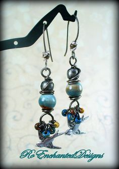 Grey Metal Wire Wrapped Bird Earrings w by RoEnchantedDesigns, $20.00