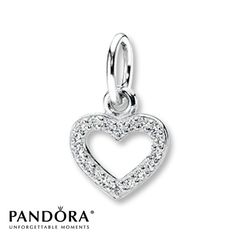 This pretty sterling silver necklace charm from the PANDORA 2013 Stories collection features a heart outlined with sparkling clear cubic zirconias. Wear with any chain, sold separately. Style # 390325CZ.