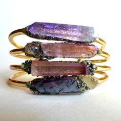 Natural Raw Jewelry - Gemstone Gold Bracelet - Gemstone Bracelet - Angel Aura Quartz - Ruby Aura Quartz - Raw Crystal Bracelet