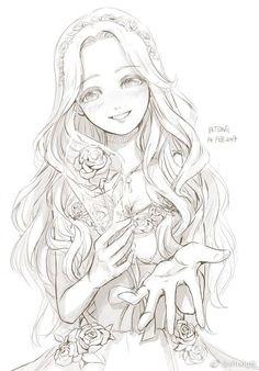 long curly hair gives Naomi a characteristic Anime Drawings Sketches, Anime Sketch, Manga Drawing, Manga Art, Cool Drawings, Devian Art, Anime Poses Reference, Anime Art Girl, Anime Girls