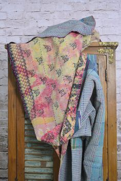 Vintage Kantha Sari Quilt in Light Blue Yellow and Pink
