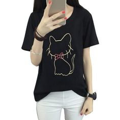 Fashion Cat Pattern Kawaii T shirts Summer Women Short Sleeve Tshirt Girls Sexy Black T-Shirt Harajuku