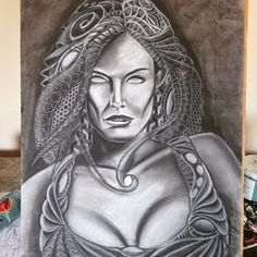 """Monochrome Muse"" 18x24 inches  Charcoal #art #portraits #visionaryart #charcoal"