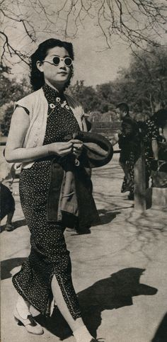 The modern lady walking in the Center Park of Beijing (1940) vintage fashion style photo print ad found street 40s Asian qipao cheongsam