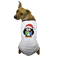 Penguin with Gifts Dog T-Shirt