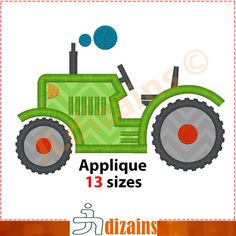 TRACTOR embroidery design, applique design - INSTANT DOWNLOAD - 4 sizes by JLdizains on Etsy or www.alldayembroidery.com #embroidery #applique #embroiderydesign #machineembroidery