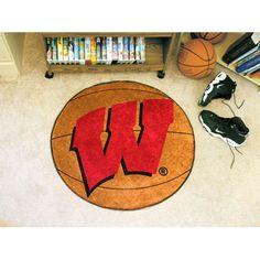 Wisconsin Badgers Basketball Round Floor Mat (29) W Logo