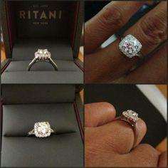 Real Ritani Engagement Rings - French-Set Cushion Halo set in Platinum | #RitaniPinterest