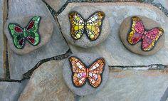 Butterflies on Rocks, mini mosaics