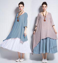 Anysize double color fake two-piece soft linen&cotton Spring Summer Dress plus size dress plus size clothing Y111