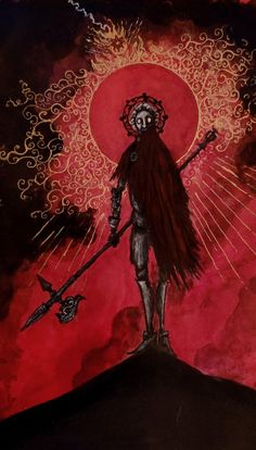 Crimson Be Thy Mantle, Valin Mattheis, Ink & Gold Leaf, 2019 - Art Fantasy Demon, Dark Fantasy Art, Dark Art, Arte Horror, Horror Art, Arte Dark Souls, Satanic Art, Arte Cyberpunk, Arte Obscura