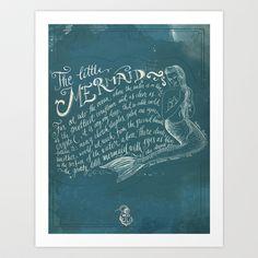 The Little Mermaid Art Print by Biljana Kroll - $15.00