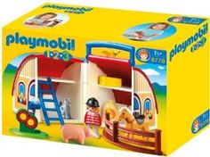 Playmobil 1.2.3. Take Along Barn 6778 by Playmobil. $25.87. Tend to the animals in the 1.2.3 Take Along Barn. With a bright and colorful design and large, rounded pieces, this set is ideal for toddlers. This take-along case with latch opens up to reveal a two-story barn complete with plenty of storage space for one figure, horse, pig, fencing, cat, ladder, flowers, animal feed and other accessories.