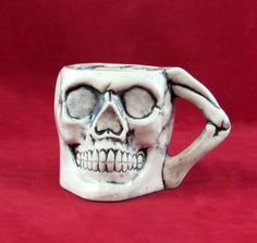 """Ceramic Small Skull """"Punch Bowl"""" Cup or Mug -SET OF FOUR- 2.75 inches tall by aarceramics on Etsy"""