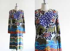 Vintage 70's Knit Goldworm Psychedelic Printed Dress
