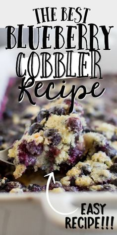 This easy Blueberry Cobbler Recipe bursts with flavor. The filling comes out perfect every time after baking andyou can create it with fresh blueberries or frozen making it a great option for last minute guests! Blueberry Recipes Easy, Blueberry Cobbler Recipes, Blueberry Dump Cakes, Fruit Cobbler, Fruit Recipes, Dessert Recipes, Cooking Recipes, Blueberry Cobler, Recipes With Fresh Blueberries