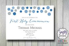 Boys Communion Invite Baptism Invitation by simplyprintable
