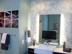 Bathroom with Unique Pebble Wall