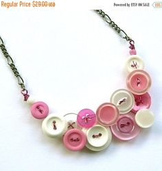 Spring Sale Necklace in Pink and White Vintage Button Jewelry by buttonsoupjewelry on Etsy