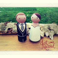 Personalised Wedding Cake Toppers - Wooden Pegs.