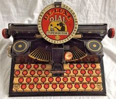 Vintage 1930s Marx - De-Luxe Dial Typewriter - Antique Children's Tin Toy Deluxe #Marx
