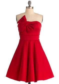 Pristine Presentation Dress - Short, Red, Solid, Bows, Formal, A-line, Strapless, Vintage Inspired, Prom, 50s