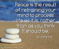 Peace is the result of retraining your mind to process life as it is, rather than as you think it should be. -dr. wayne dyer - Let go of your worries, your doubts and your fears. Free you mind of ceaseless thoughts and live as the spiritual being that you are. Empty your mind, and let your heart be at peace. Tips for beginners and inspiring stories. <3 <3 May health be your journey and wellness your blessing <3 <3