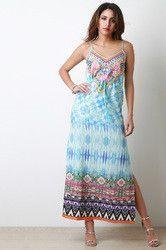 Tie Dye Floral Motif V Neck Maxi Dress