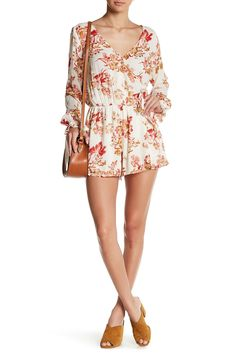 Crinkle Floral Surplice Neck Romper by En Creme on @HauteLook