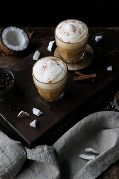 Cinnamon Coconut Cream Latte Vegan Gingerbread, Gingerbread Latte, Lemon Custard Tart, Peanut Butter Curry, Breakfast Bars, Yogurt Breakfast, Chocolate Bark, Coconut Cream, Breakfast