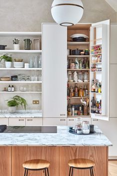 extra tall larder providing lots of kitchen storage Tall Kitchen Cabinets, Kitchen Larder, Wooden Cabinets, Kitchen Furniture, Kitchen Interior, Open Plan Kitchen Living Room, Neutral Kitchen, Kitchen Board, Villa