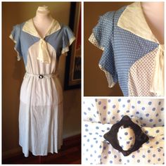 Excited to share this item from my shop: Vintage Organdie Polkadot Sailor Dress 1930s Style, Sailor Dress, 1930s Fashion, Flutter Sleeve, Dress Skirt, Vintage Outfits, Polka Dots, Blue And White, How To Wear